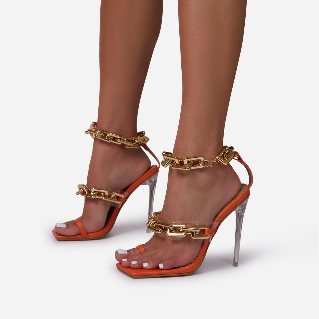 Morgana Triple Strap Chain Detail Square Toe Clear Perspex Heel In Orange Faux Leather Image 2