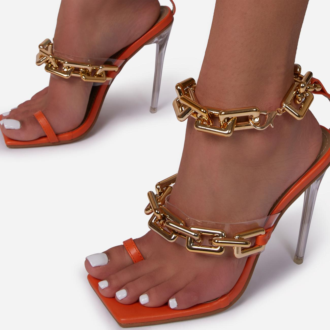 Morgana Triple Strap Chain Detail Square Toe Clear Perspex Heel In Orange Faux Leather Image 3