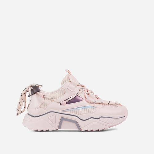 Haden Lace Up Mesh Chunky Sole Trainer In Pink