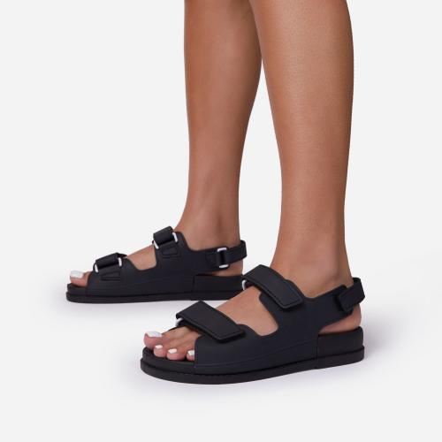 Brodi Double Strap Flat Dad Sandal In Black Rubber