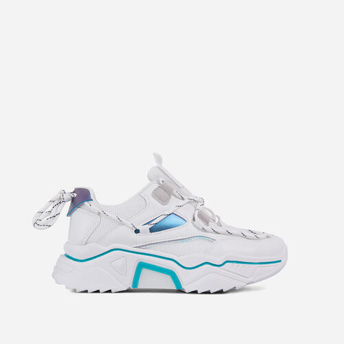 Haden Lace Up Mesh Chunky Sole Trainer In White