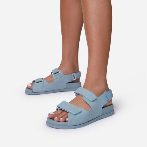 Brodi Double Strap Flat Dad Sandal In Blue Rubber