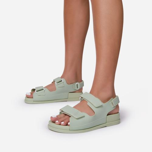 Brodi Double Strap Flat Dad Sandal In Mint Green Rubber