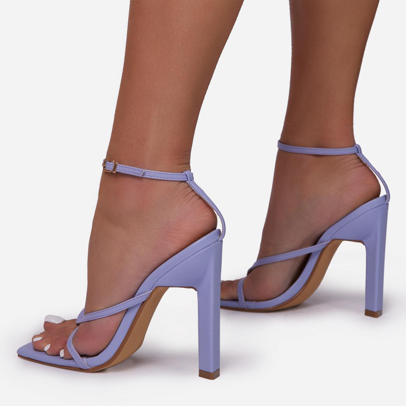 Enlighten Criss Cross Square Toe Sculptured Block Heel In Lilac Faux Leather Image 3