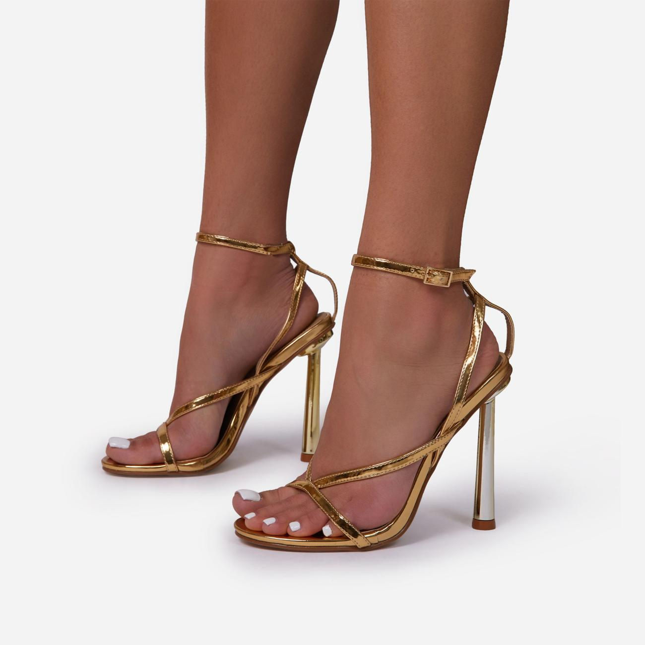 Yasmin Strappy Heel In Metallic Gold Faux Leather Image 2