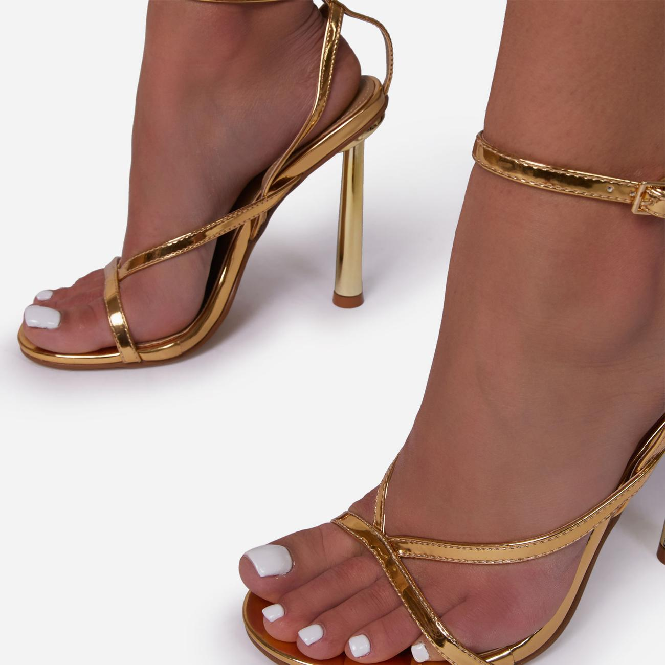 Yasmin Strappy Heel In Metallic Gold Faux Leather Image 3