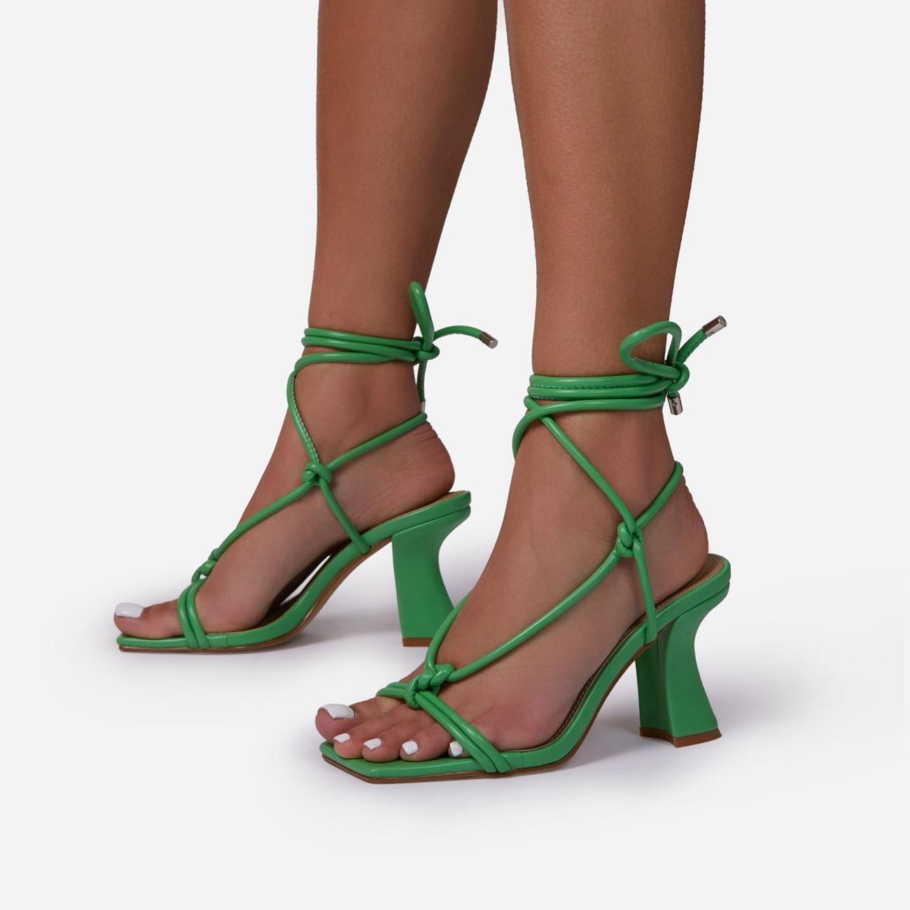 Harmony Knotted Detail Lace Up Square Toe Curved Low Block Heel In Green Faux Leather Image 2