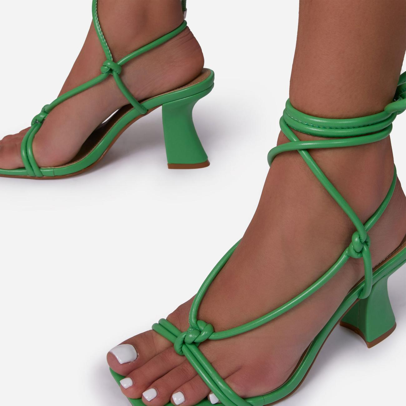 Harmony Knotted Detail Lace Up Square Toe Curved Low Block Heel In Green Faux Leather Image 3