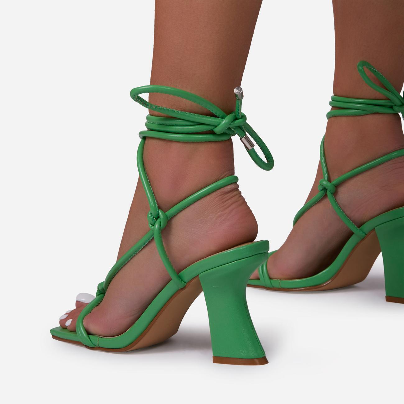 Harmony Knotted Detail Lace Up Square Toe Curved Low Block Heel In Green Faux Leather Image 4