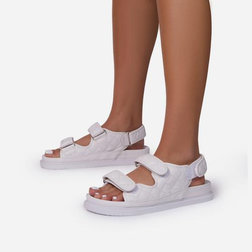 Hyped Quilted Double Strap Flat Dad Sandal In White Faux Leather