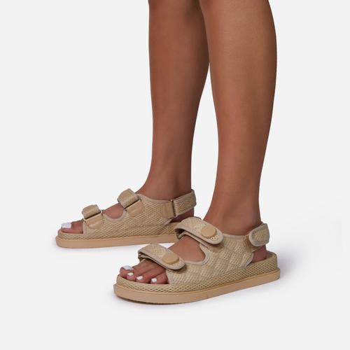 Hyped Double Strap Flat Dad Sandal In Nude Mesh