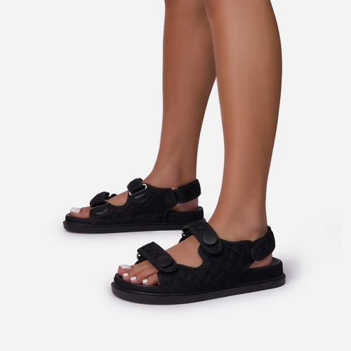 Hyped Double Strap Flat Dad Sandal In Black Mesh