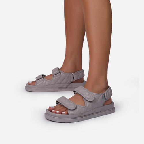 Hyped Quilted Double Strap Flat Dad Sandal In Grey Faux Leather
