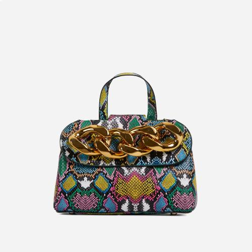 Lucie Chain Detail Grab Bag In Multi Snake Print Faux Leather