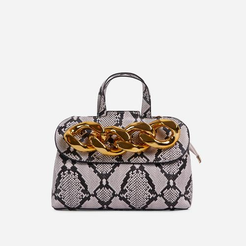 Lucie Chain Detail Grab Bag In Nude Snake Print Faux Leather
