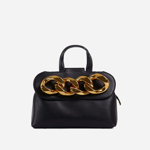 Lucie Chain Detail Grab Bag In Black Faux Leather