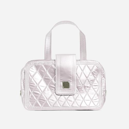 Tomi Quilted Detail Shopper Bag In White Faux Leather