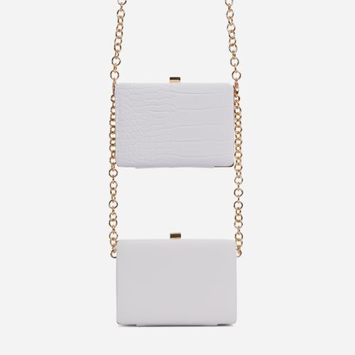 Alva Double Cross Body Clutch Bag In White Croc Print And Faux Leather