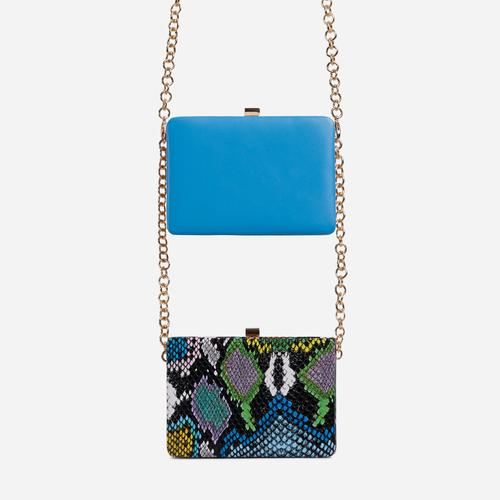 Alva Double Cross Body Clutch Bag In Multi Snake Print And Blue Faux Leather