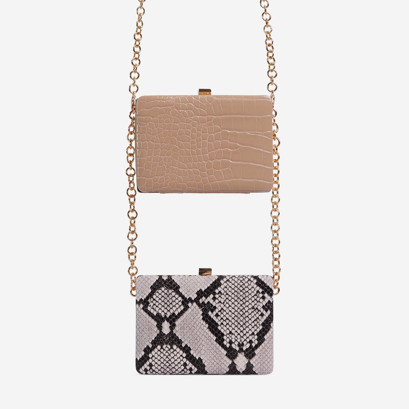 Alva Double Cross Body Clutch Bag In Nude Snake Print And Nude Faux Leather