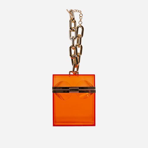 Mila Chain Detail Vanity Bag In Orange Perspex