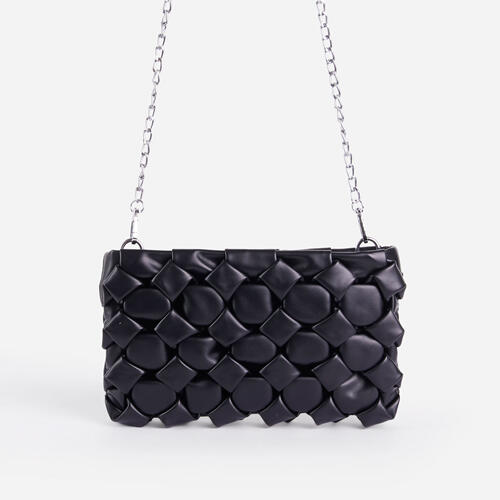 Naya Woven Detail Chain Shoulder Bag In Black Faux Leather
