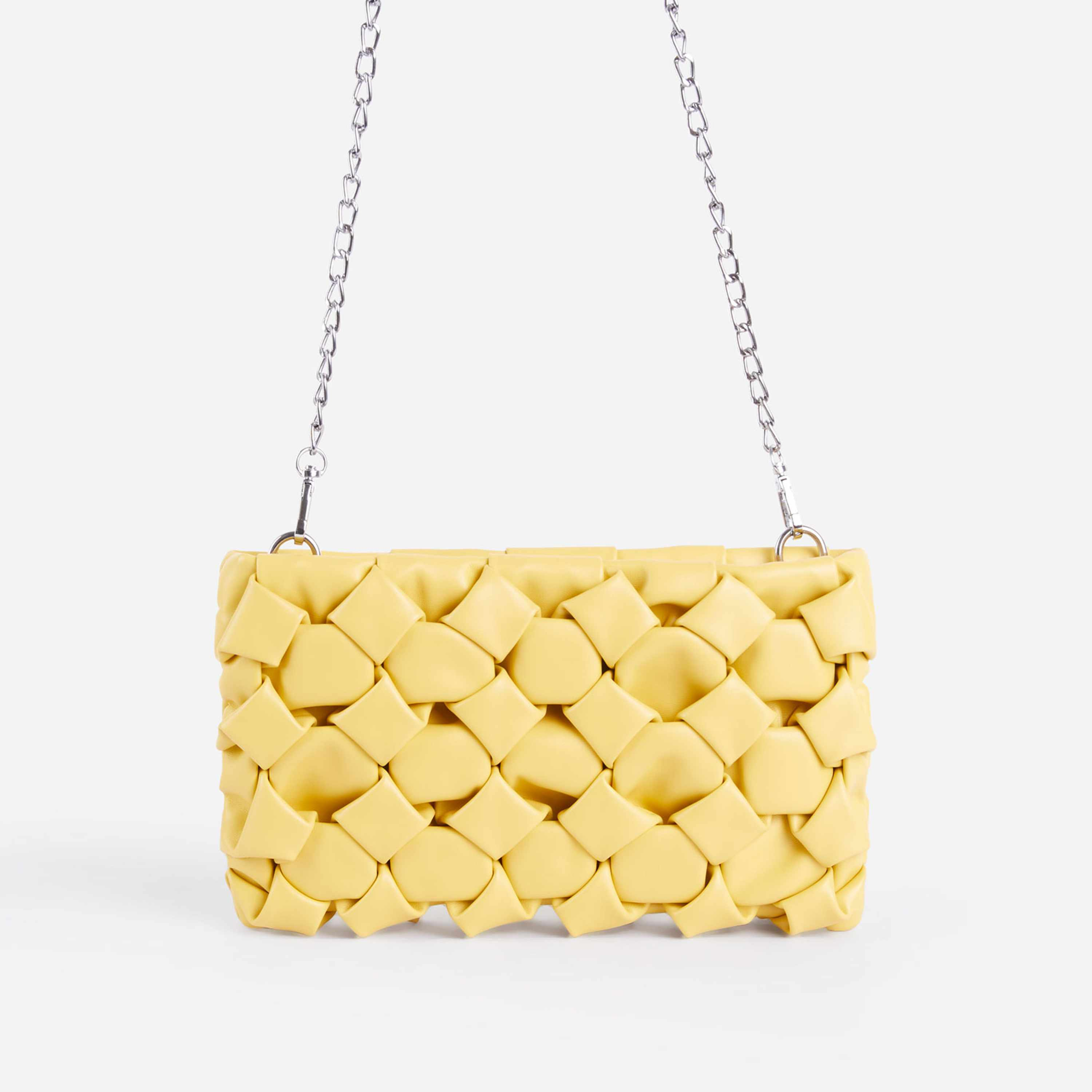 Naya Woven Detail Chain Shoulder Bag In Yellow Faux Leather