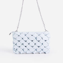 Naya Woven Detail Chain Shoulder Bag In Blue Faux Leather