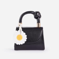 Boutique Daisy Detail Mini Bag In Black Faux Leather