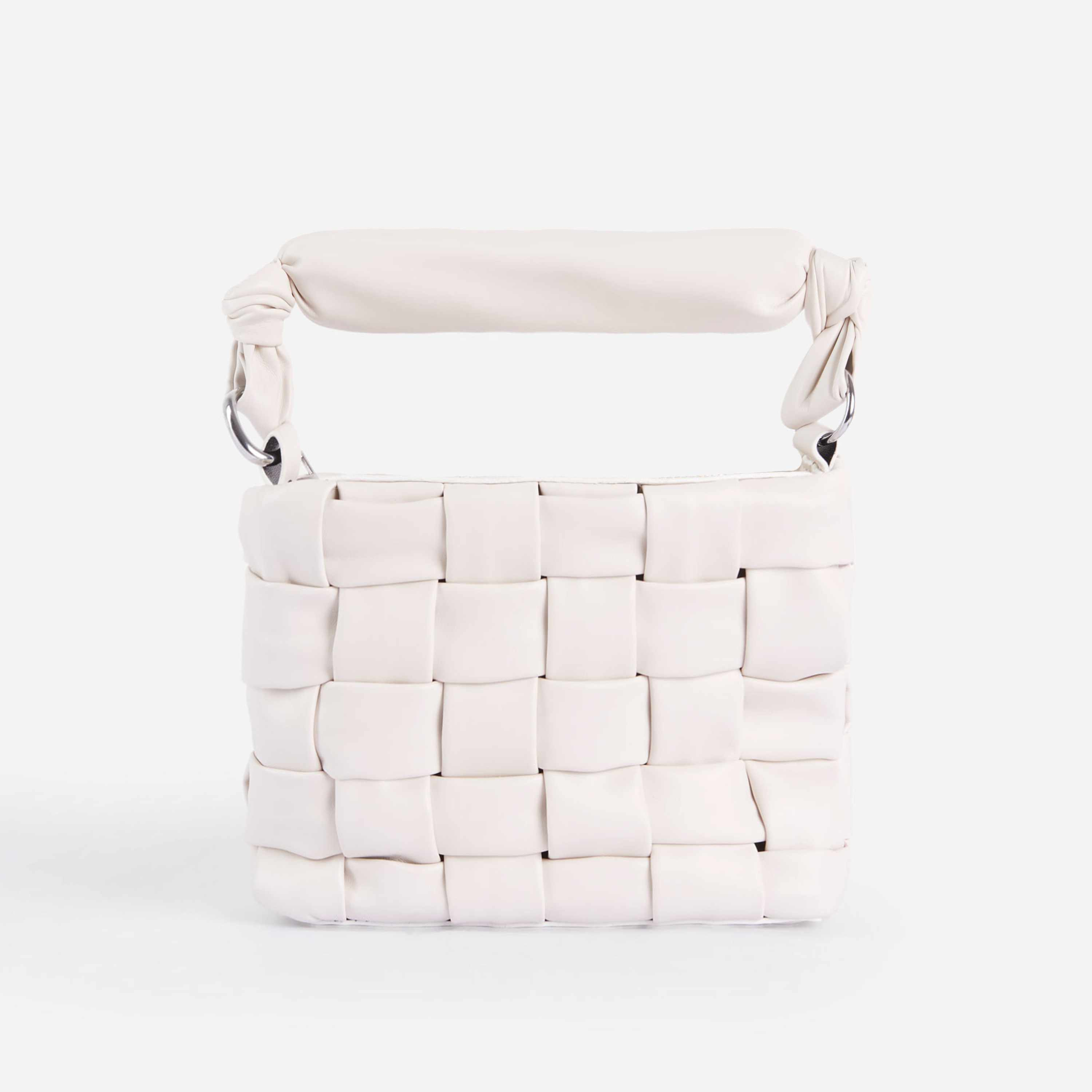 Carlie Padded Woven Cross Body Bag In White Faux Leather