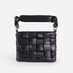 Carlie Padded Woven Cross Body Bag In Black Faux Leather