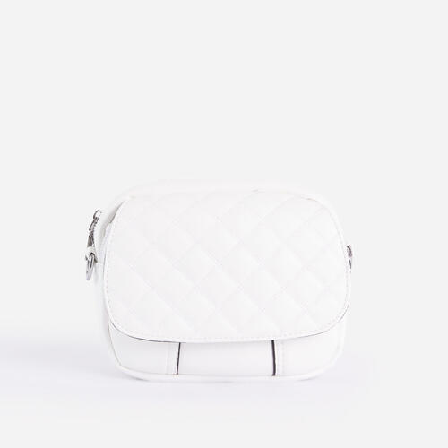 Josie Mini Quilted Cross Body Bag In White Faux Leather