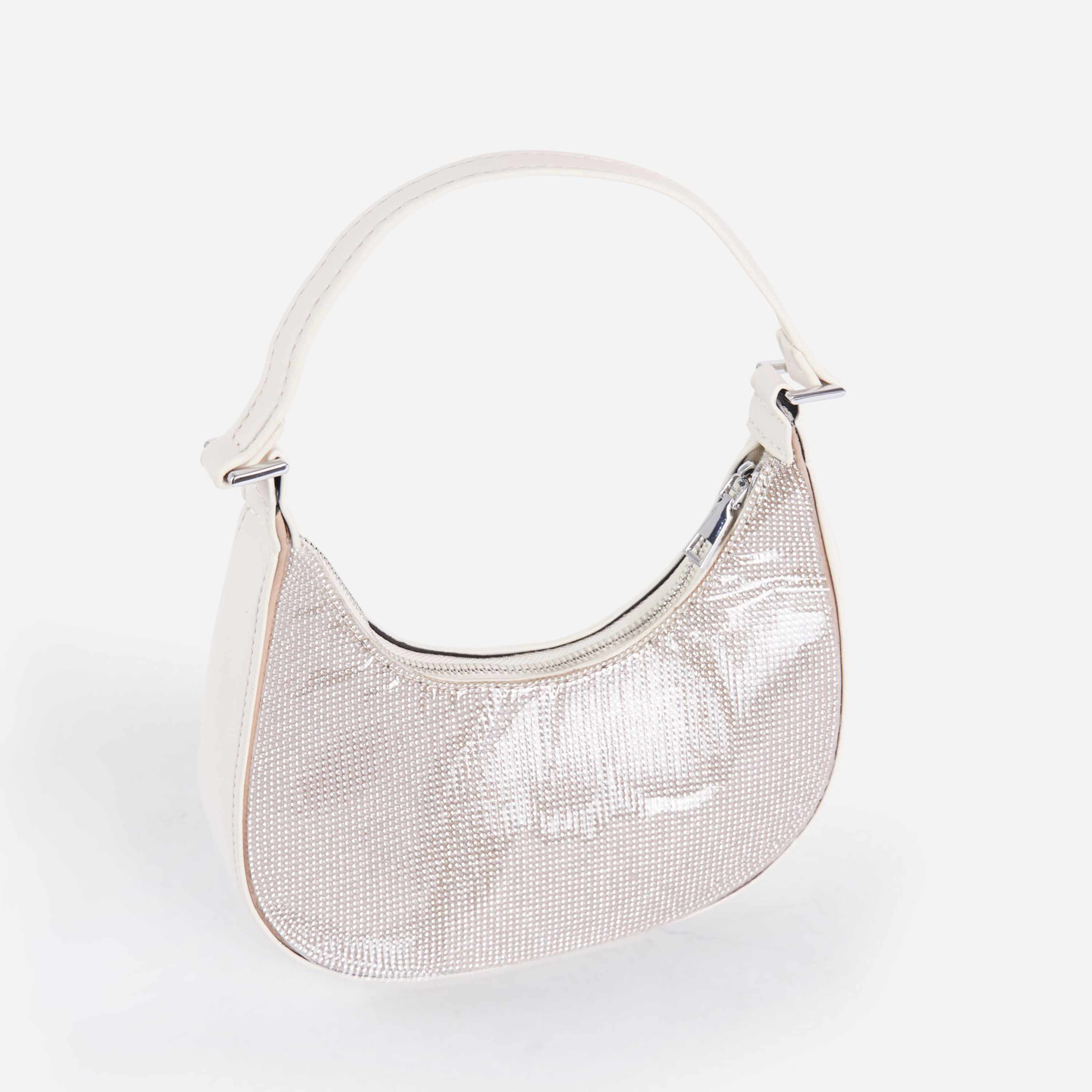 Poppy Chain Detail Diamante Shoulder Bag In White