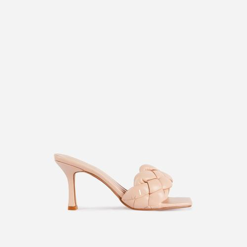 Waves Square Peep Toe Woven Kitten Heel Mule In Nude Faux Leather