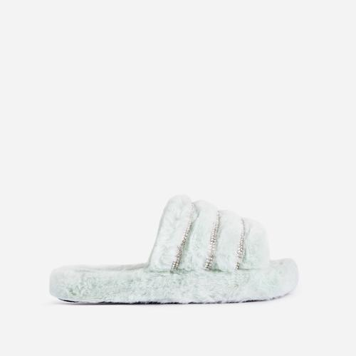 Carebear Kid's Fluffy Diamante Detail Stripe Slipper In Mint Green Faux Fur