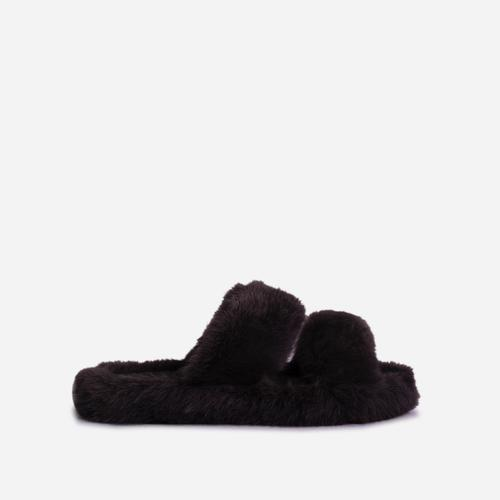 Pamper Fluffy Double Strap Slider Slipper In Black Faux Fur