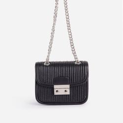 Julia Textured Chain Detail Mini Bag In Black Faux Leather