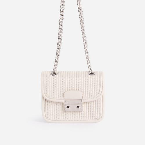 Julia Textured Chain Detail Mini Bag In White Faux Leather