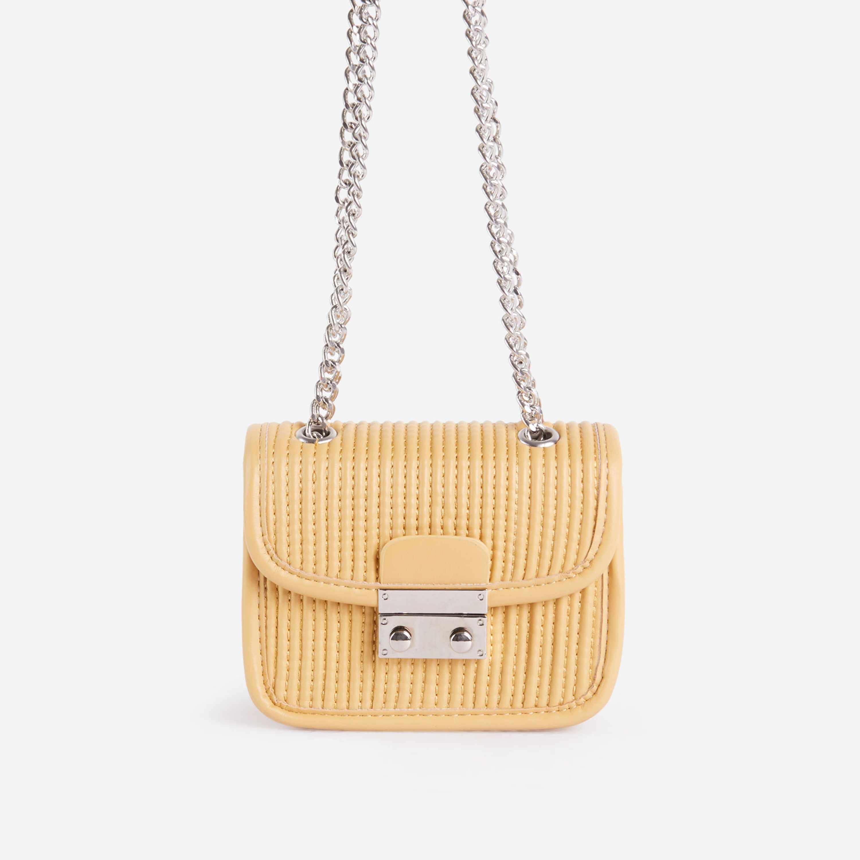 Julia Textured Chain Detail Mini Bag In Yellow Faux Leather