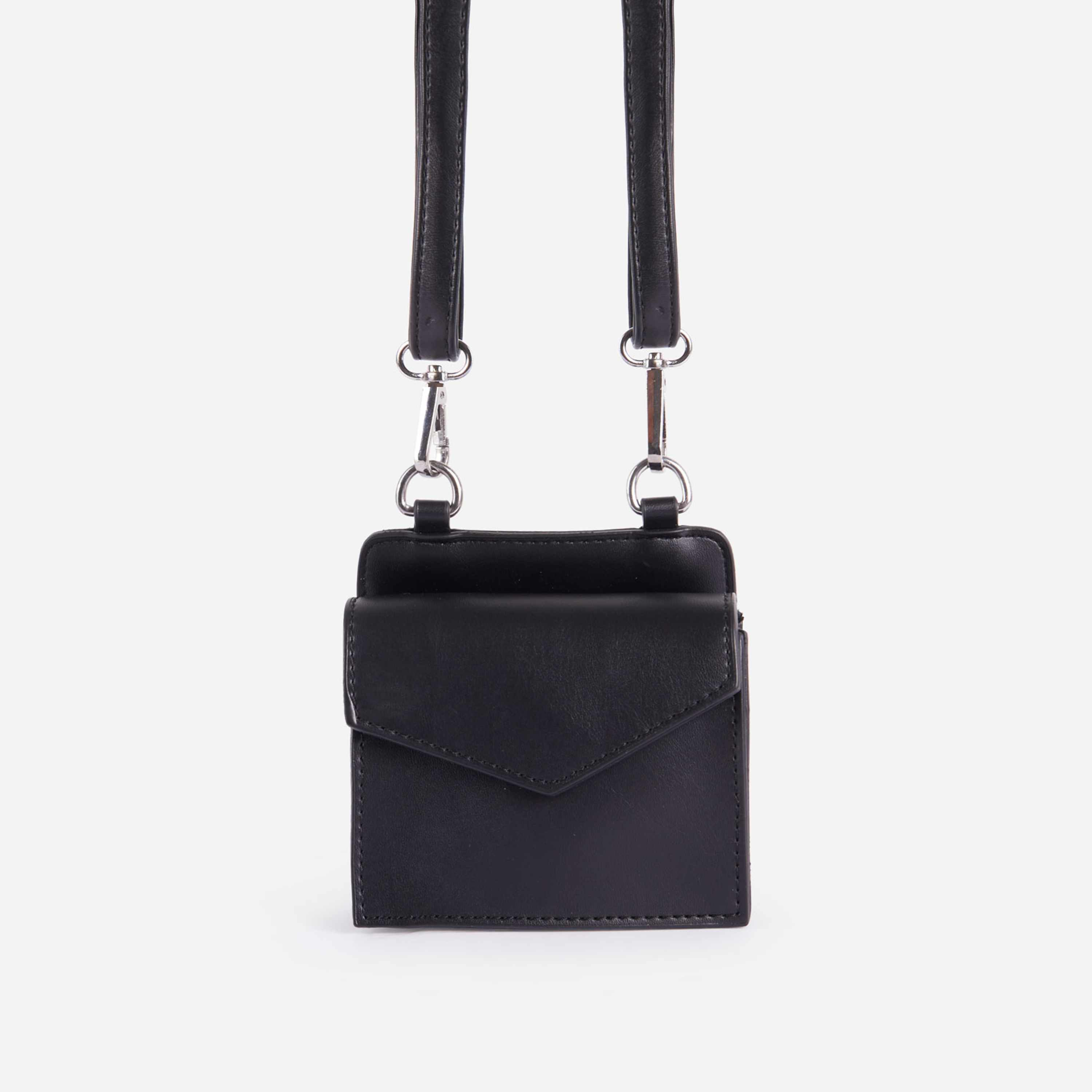 Remi Mini Envelope Bag In Black Faux Leather
