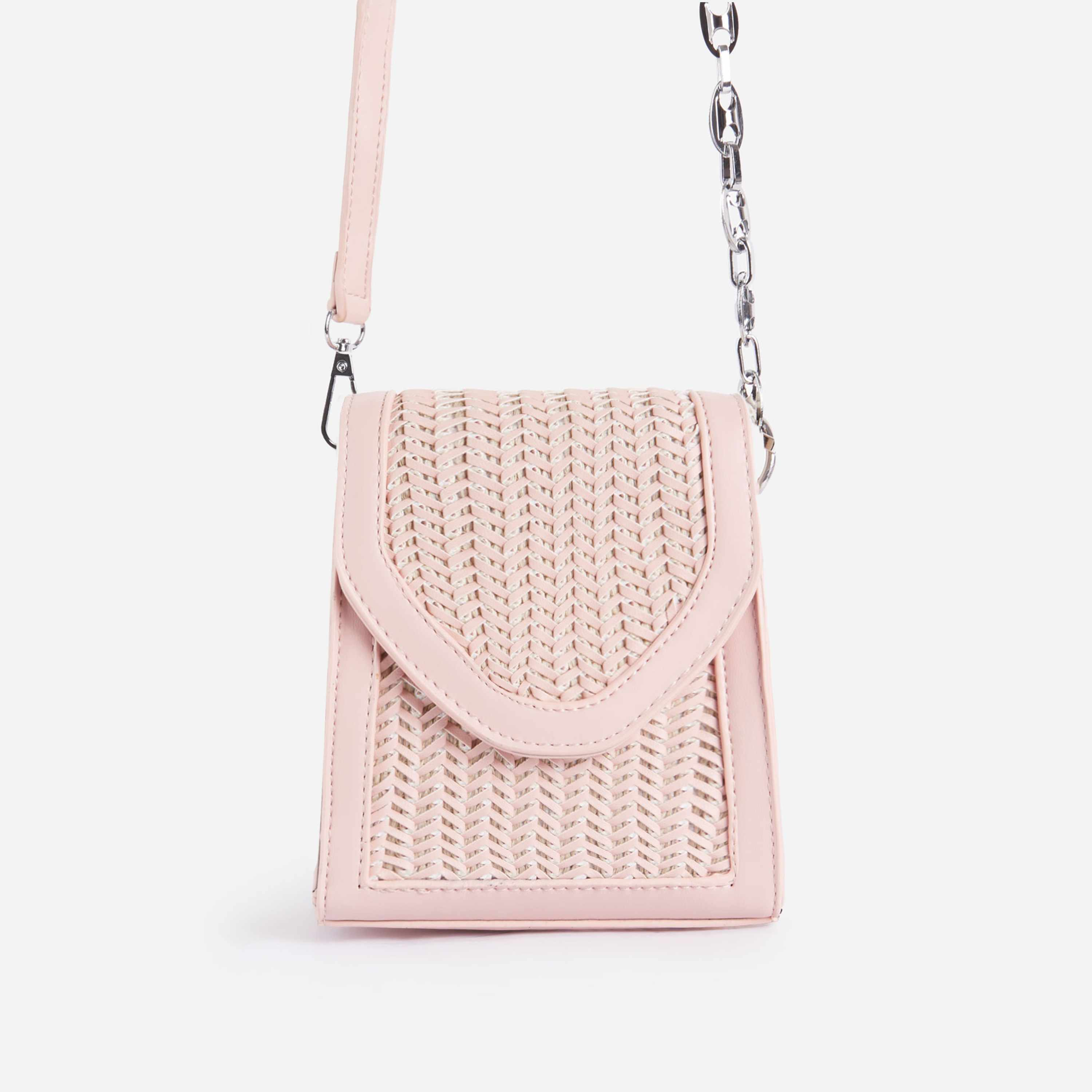 Bonnie Chain Detail Woven Mini Cross Body Bag In Pink