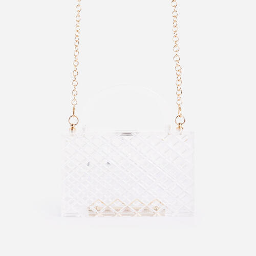 Roma Textured Grab Box Bag In Clear Perspex