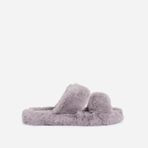 Pamper Fluffy Double Strap Slider Slipper In Grey Faux Fur