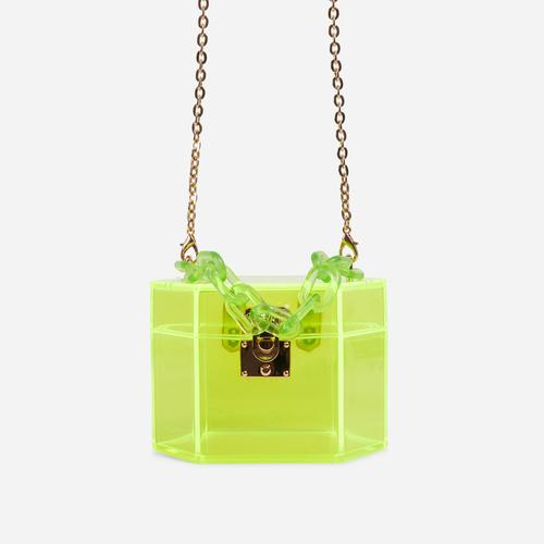 Robbie Cross Body Box Bag In Lime Green Perspex