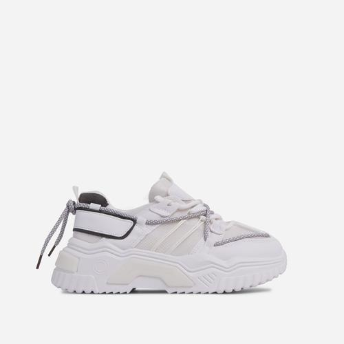Barkley Lace Up Mesh Chunky Sole Trainer In White