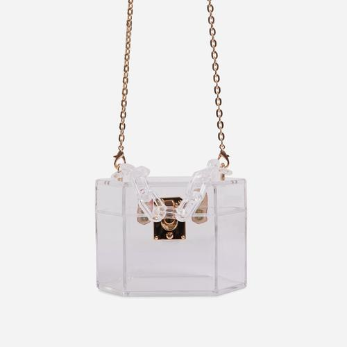 Robbie Cross Body Box Bag In Clear Perspex