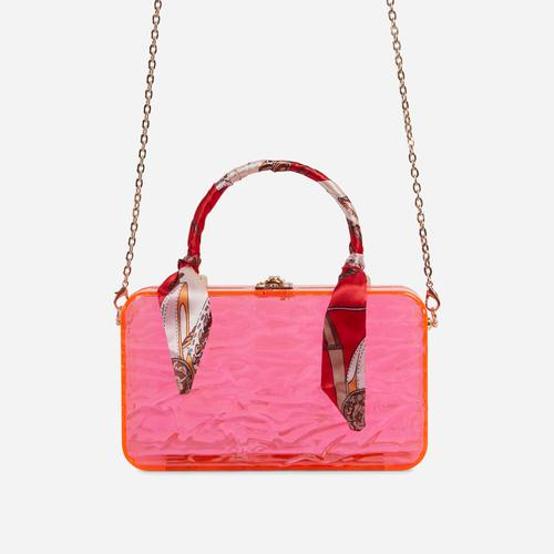 JayJay Bandana Detail Box Bag In Pink Perspex