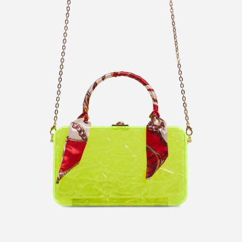 JayJay Bandana Detail Box Bag In Lime Green Perspex