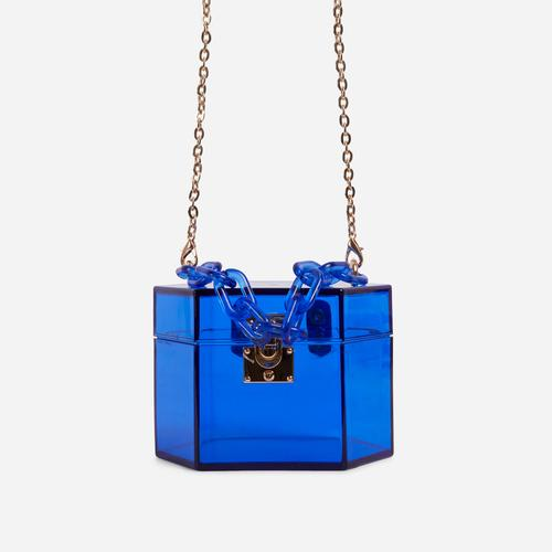 Robbie Cross Body Box Bag In Blue Perspex