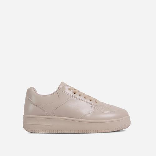 Steph Lace Up trainer In Nude Faux Leather